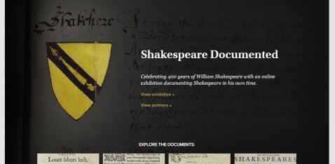 Home page for Shakespeare Documented, one stop shopping for all surviving manuscripts and printed works relating to Shakespeare, his family, and his works.